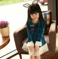 Baby Girl New Spring Elegant Deep Blue Corduroy Long Sleeve Dress, Princess Boutique Sweet Dresses, 5 pcs/lot, Wholesale