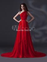 2015 Vestido De Renda Sexy Chiffon Red Evening Dresses One Shoulder Chapel Train Party Dress Prom Gowns