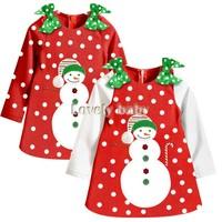 Baby Girl red Christmas Dress New 2014 Girl's Long Sleeve Merry Christmas Dress Kids Cotton Casual party Tutu Dress b9 SV010060