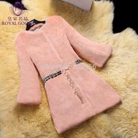 2014 high quality full leather rabbit fur coat women 's three quarter sleeve coat Free shipping