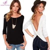 Summer High Street Fashion Backless Sexy Black White Long Sleeve T-shirts Womens Tops Tees Clothing Camiseta Roupas Dropshipping