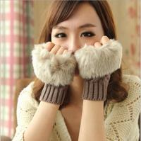 Hot Retail and Wholsale Fashion Winter Arm Warmer Fingerless Gloves,Cheap Knitted Fur Trim Gloves Mitten