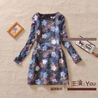 Free shipping 2014 Winter new Korean printing bottoming embroidered woolen dress temperament Slim women dress