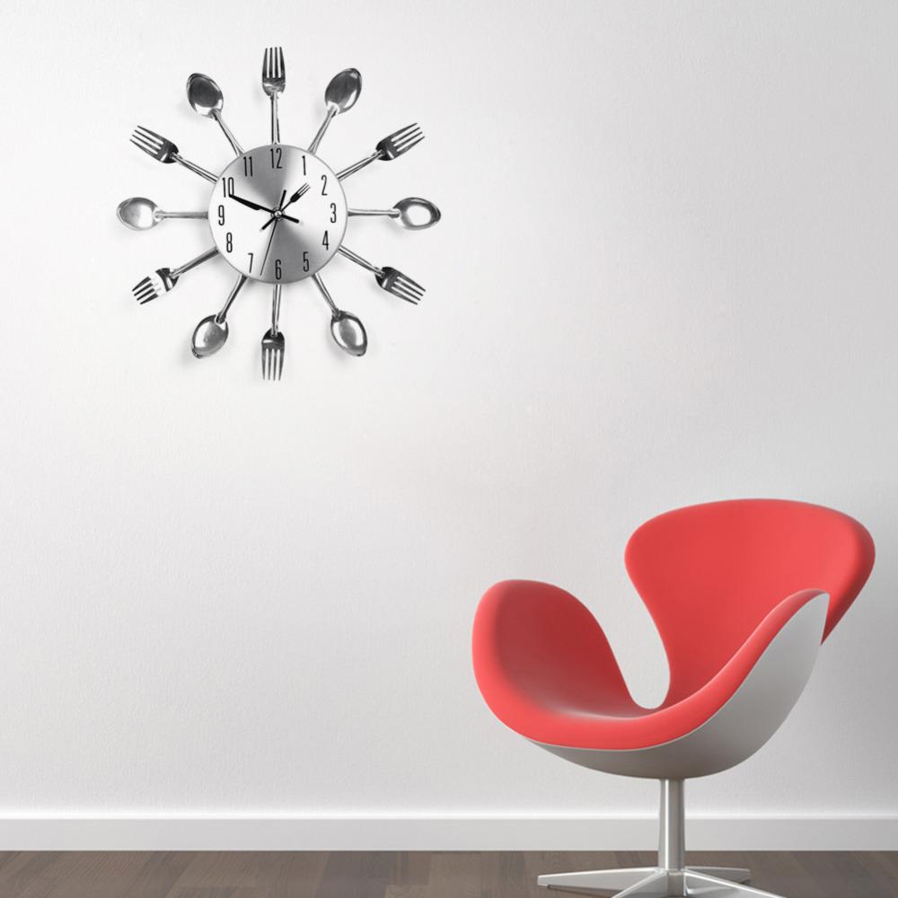 Modern Design Wall Clocks Sliver Cutlery Kitchen Utensil
