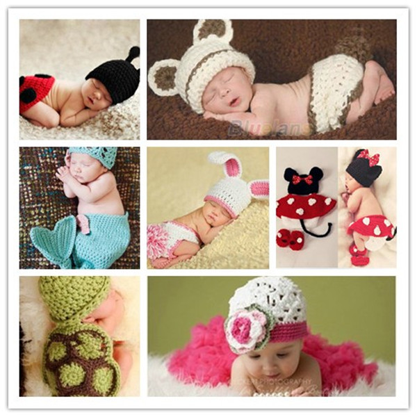 Fashion Handmade Infant Baby Knit Costume Beanies Newborn Photography Prop Crochet Shirt Hat Cap Baby Accessories Mickey,Fox,Bee(China (Mainland))