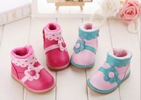 baby girls winter boot toddler shoes princess leather shoes first walkers fashion patchwork sun flower velvet plus fur keep warm