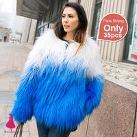 2015 New Arrivals Winter Women Hairy Shaggy Faux Fox Fur O-Neck Short Jackets Gradient Patchwork Blue Color Coat Outerwear Hot