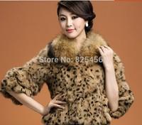 2014 fur coat raccoon fur leopard print three quarter sleeve women's rabbit fur short design
