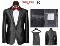 Brand Designer Men's Formal Business Suits Solid Fashion Blazers Classic Wool Handsome Wedding Suits Black Grey