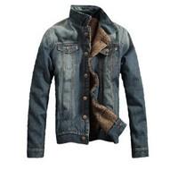 New Casual Slim Fleece Mens Denim Jacket,Denim Faux Fur Coat For Men Spring Autumn,2 Colors,Size M-3XL,F711,Free Shipping