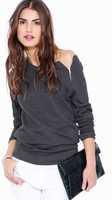 free shipping!2015woman t-shirt European and American models zipper sweater T-shirt  womens long sleeve tops black / gray S-XL