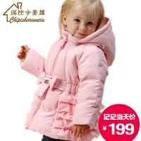 Female child baby coat medium-long down laciness chiffon princess infant winter outerwear