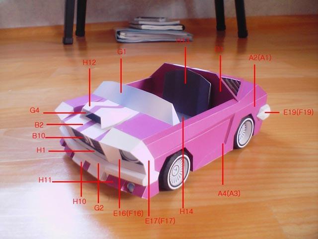 Full 68-- energy-saving Mustang convertible --3D paper model DIY(China (Mainland))