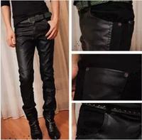 Free shipping 2015 Fashion Spring autumn pants black PU Lederhosen casual male slim skinny pants men's clothing trousers