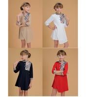 New 2015 Kids Clothes Dresses Vestidos 2-6Yrs Baby Girls Princess Dress Brand Plaid Children Summer Dress Kid party Dresses 2627