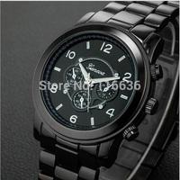 11pcs lot High Quality Luxury NEW Geneva Metal Watch Women 3 eyes quartz Wristwatch Woman Golden Watch Stainless Wholesale