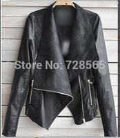 2014 High Street Locomotive Suit Lady New Autumn Turn-down Collar goat Leather Jacket Zipper Pocket Women Fashion Slim Coat