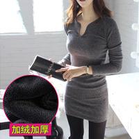 Plus velvet long-sleeve medium-long basic winter dress V-neck thickening slim hip casual dress women dress plus size S_XXXL