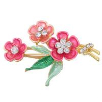 rhinestone Flower Rhinestone Wedding Floral Flower Leaf Enamel Breastpin Pin Brooch Bouquet For Woman Free Shipping