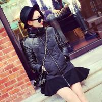 2015 Top Fashion Slim Winter Jacket Women Fall New European Style Collar Quilted Stitching Lotus Leaf Pendulum Long Padded Coat