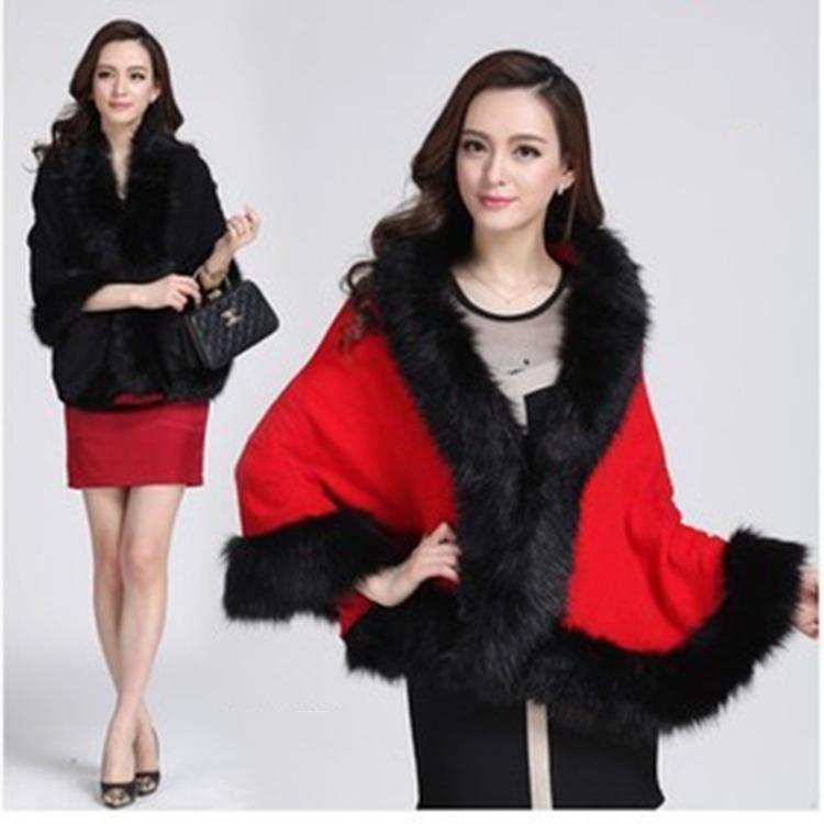 New Arrive Women Faux Fur Knit Bat Sweater Coat Tops Wrap Shawl Sweater(China (Mainland))