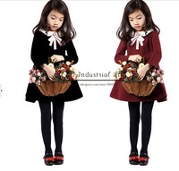 Best Selling Winter Girl Dresses Navy School Style Princess Girls Dress Children Clothes Free Shipping GD41209-14^^EI
