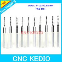 10pcs/lot  1.0*10.5*3.175mm CNC Drill Bits, Import Carbide PCB Fibreboard  CNC Drill Bits