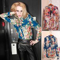 Vestidos  European Fashion Style Spring Autumn Vintage Floral Print Women's Long Sleeve Blouses Shirts XXXL XXXXL 3XL 4XL