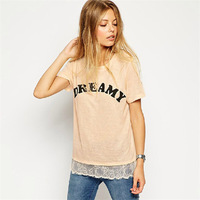 Hot Sale Fashion Letters Printed Women T shirt Lace Patchwork Tees Cute Ladies Blouse Casual Plus Size T-shirt Cotton Tops 30291