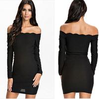 Women Sexy Dresses 2014 New Slim Bodycon Elegant Casual Black Solid Party Evening Dresses Long Sleeve Slash Neck Party Dress