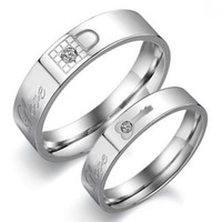 Best Price Korean Fashion Jewelry Lovers Ring Women Male Love Key Lock Couple Rings Stainless Steel Band Wedding Ring