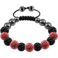 Pbc039 Tresor Paris Noiron Black-Red Crystal & Magnetite beaded bracelet , shamballa cz beads