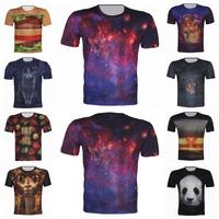 Hamburger/Galaxy/Animal/Bomb Printed 2015 New Men's 3D T Shirt Brand Design Tops Casual Sport Short Sleeve XS-6XL Tops Camisetas