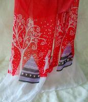 New 2014Cheap  Chiffion  Rabbit Christmas Hat  Tree  Printed Scarves Womens   Foulard  Fashion  Brand  Long Scarf  Hot Sale