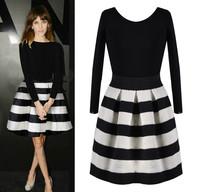 Women 2014 Striped Stitching Dress Fashion Casaul Dress Winter Spring Wearing Cute Black White Length Sleeve Vestidos VC0036