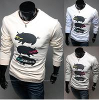 Free Shipping High Quality Korean Hot Sale Cute Pig Printed Round Collar Long Sleeve Man Cotton T-shirt