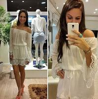 Sexy slash neck long sleeve white lace chiffon dress floral vestidos branco femininos vestido de renda summer dress 2014
