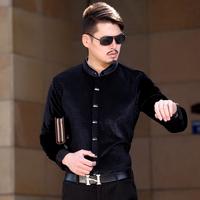 free shipping&2014 winter male pleuche shirt stand collar long-sleeve slim thickening print shirt