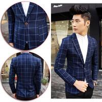 2014 New Fashion England Style Celebrities Gentleman Slim Suits Jackets Print Plaid  Men's Business Blazer Coat