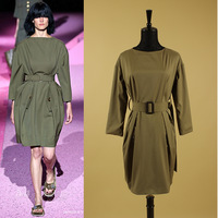 2015 Early Spring New Fashion Runway Brand Elegant Women's 3/4 Sleeve Office Loose Army Green Straight Dresses With Belt