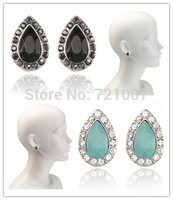 Stud Earrings For Women 2014 Fashion Oroton Retro Black Green Clear Shadows Bohemian Long Rhinestone Lovisa Jewelry SW Australia