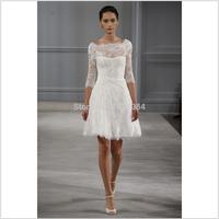 Elegant High Neck Short Zuhair Murad Wedding Dresses Long Sleeves Lace Bridal Gowns vestidos de noivas 2014 sexy105121