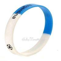 Silicone Rubber Bangle Elastic Belt Bracelet Football Argentina AR National Flag