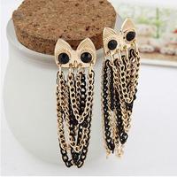 Promotion! Wholesale! Fashion lady women jewelry hot sell black rhinestone eyes multi layer alloy chains owl stud earrings ER544