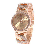 Wholesale Classic Women Girl Stainless Steel Watch,SHIKAI Brand Crystal Rose Gold/Gold Band Bracelets Watches,Free Drop Shipping