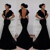 2015 new arrival women sexy backless Deep V Neck Black Long Evening dresses Mermaid Prom dresses Party dress vestido de renda