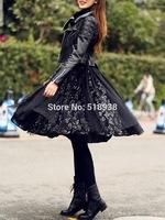 luxury brand fashion black sequined mesh ball gown skirt knee length casual 2014 autumn winter women girls elegant skirts