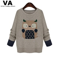 Women Sweater Plus Size Long Sleeve O Neck Owl Print Knitted Sweater Woman Winter New Arrival Female Casual Pullovers W00223
