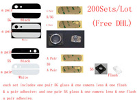 (5G5S409200DHLAM)(200Sets/Lot by DHL) 100% Top Quality for iPhone 5G 5S Top Bottom Back Cover Glass+Camera Lens+Flash+Adhesive