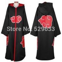 Free Shipping Hot Selling naruto cosplay costume Naruto Akatsuki /Uchiha Itachi Cosplay Cloak Hooded Plus Size (S-2XL) WA305
